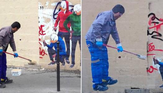 ¡Limpió un graffiti y terminó siendo uno!