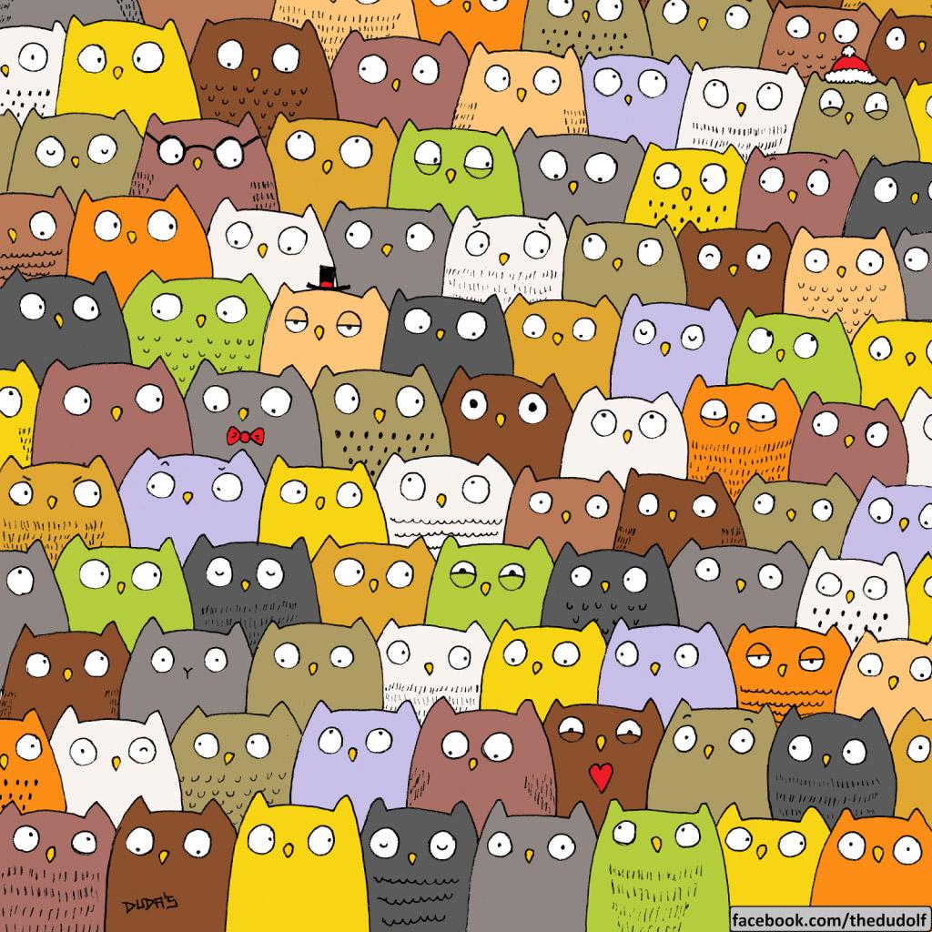 Encuentra el gato entre los buhos