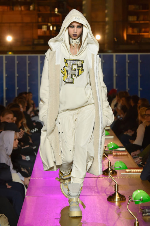 PARIS, FRANCE - MARCH 06: (LOOK 52) A model walks the runway during FENTY PUMA by Rihanna Fall / Winter 2017 Collection at Bibliotheque Nationale de France on March 6, 2017 in Paris, France. (Photo by Kristy Sparow/Getty Images for Fenty Puma)